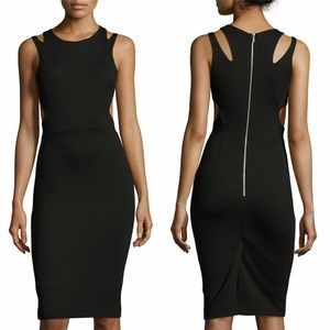 French Connection Black Lula Stretch Cut Out Dress